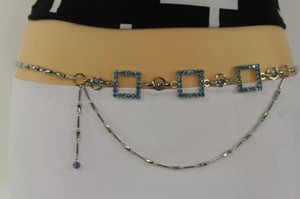 Women Belt Side Hip Waist Silver Metal Chains Square Blue Rhinestones