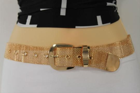Other Women Classic Fashion Belt Hip Waist Jeans Loops Gold Mesh Metal