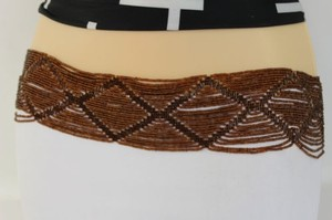 Women Hip High Waist Brown Beads Wide Fashion Belt Plus 35-50