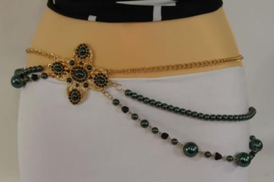 Other Women Belt Hip Waist Green Big Flowers Gold Metal Chain Beads Fashion