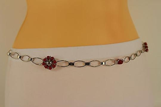 Other Women Belt Hip Waist Red Big Flowers Silver Metal Chains Beads Fashion
