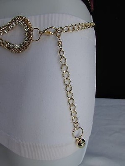 Other Women Fashion Belt Hip Waist Gold Mesh Metal Chains Link Clears Beads