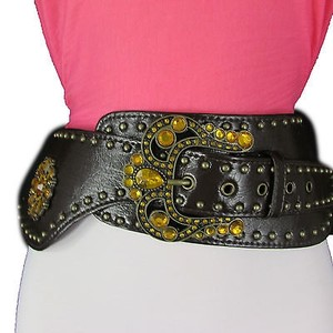 Other Waist Women Belt Brown Dark Brown Faux Leather Wide Western Fashion Buckle