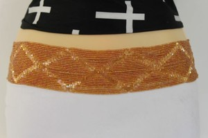 Women Hip High Waist Beige Beads Wide Fashion Belt Plus 35-50