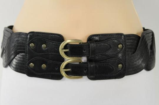 Other Women Elastic Black Belt Double Gold Buckle Hip Waist Braided Faux Leather
