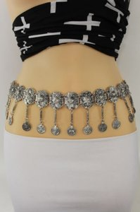 Other Women Belt Hip Waist Big Coins Silver Metal Chains Moroccan Fashion