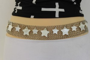Women Wide Belt Hip Waist Silver Metal Chains Seashell Stars Fashion