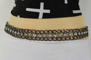 Women Tie Fabric Belt Black Red Blue Hip Waist Chains Big Rhinestones