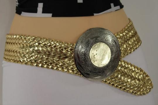 Other Women Gold Braided Hip Moroccan Fashion Belt Round Silver Buckle 30-35