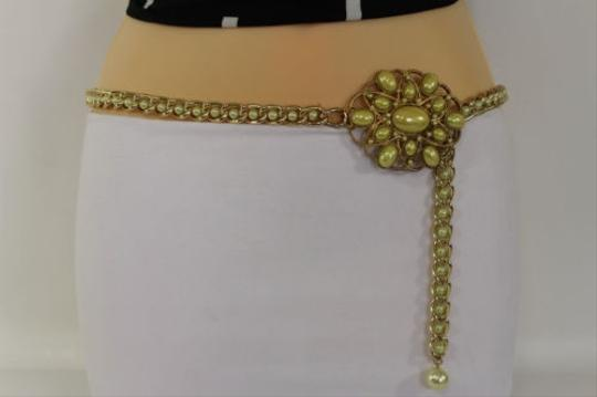 Other Women Belt Hip Waist Yellow Big Flower Gold Metal Chains Beads Fashion