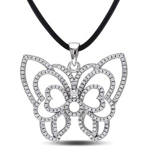 Amour Sterling Silver Cubic Zirconia Butterfly Pendant Necklace 24 Leather Cord