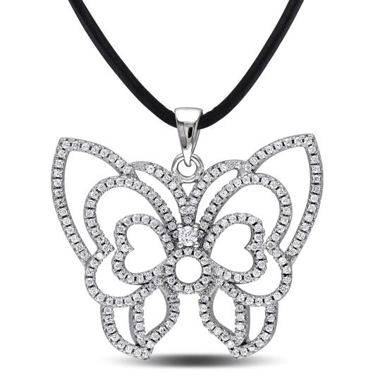 Preload https://item4.tradesy.com/images/sterling-silver-cubic-zirconia-butterfly-pendant-necklace-24-leather-cord-4289443-0-0.jpg?width=440&height=440