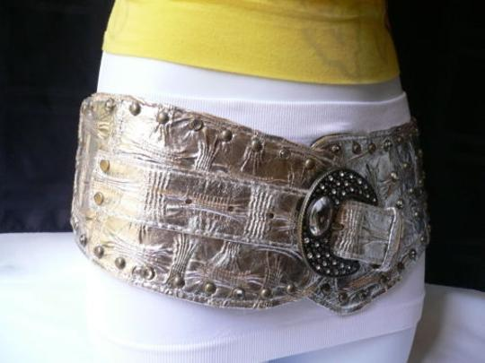 Other Women Hip Wide Mettalic Silver Western Fashion Belt Rhinestones Big Buckle