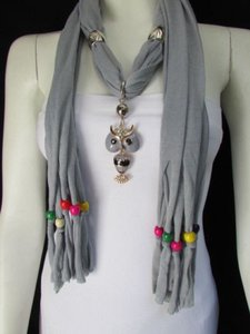 Women Gray Fashion Soft Scarf Long Necklace Multicolors Wood Beads Owl Pendant