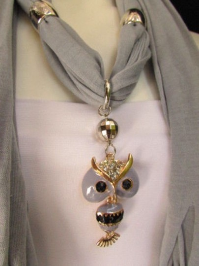 Other Women Gray Fashion Soft Scarf Long Necklace Multicolors Wood Beads Owl Pendant