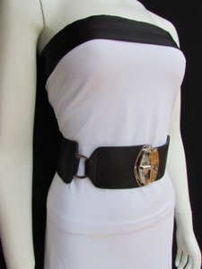 Women Waist Hip Black Side Ring Wide Elastic Fashion Belt Buckle 27-32