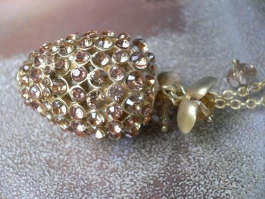 Other Women Gold Metal Pineapple Fashion Chic Necklace Flowers Fun Rhinestones 15