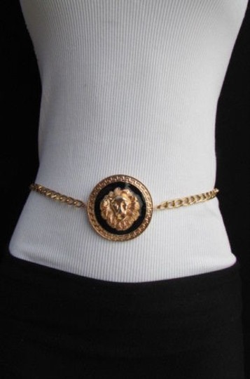 Other Women Fashion Gold Black Metal Belt Round Lion Head Hip Waist 25-40