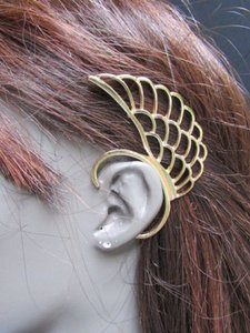 Other Women Trendy Fashion Gold Big Metal Angel Wing Ear Cuff Earring Set