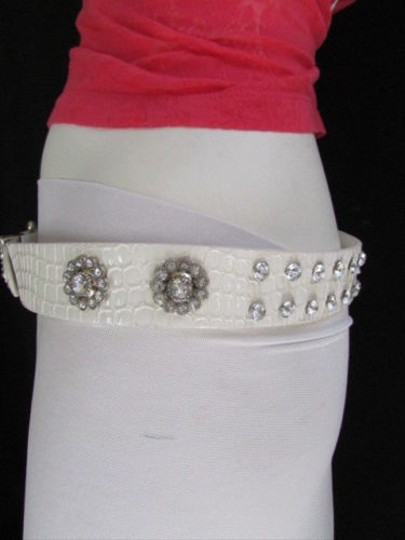 Other Women Faux Leather Western White Belt Flowers Silver Beads Buckle 36-41