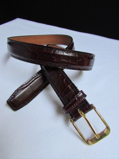 Other B. Women Brown Leather Classic Fashion Thin Belt Gold Buckle 28-32