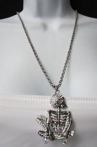 Women Fashion Necklace Silver Skateboard Skeleton Skull 13 Long Rhinestones