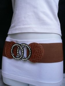 Other Women Belt Fashion Elastic Brown Faux Leather Silver Rhinestones 25-37