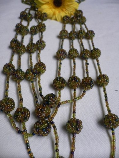 Other Women Green Beads Multi Ball Strand Indonesia Long Fashion Necklace 16 Long