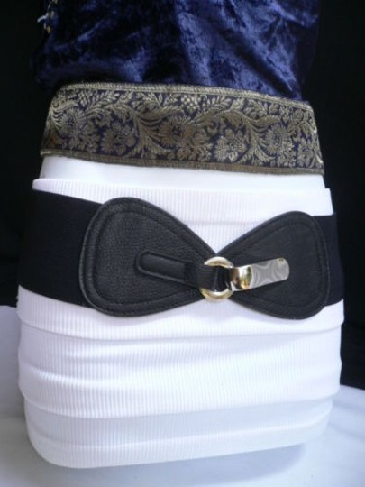 Other Women Waist Hip Elastic Black Wide Fashion Belt Front Bow 27-37 S-l