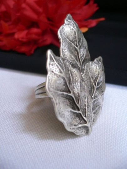 Other Women Silver Metal African Trible Fall Leaves Fashion Ring Adjustable