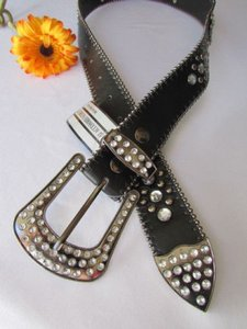 Other Women Black Faux Leather Western Belt Silver Cross Beads Buckle 38-43