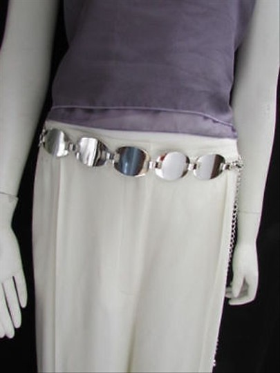 Other Women Silver Metal Thin 1.25 Fashion Metal Chains Belt Oval 28-40 S-m-l
