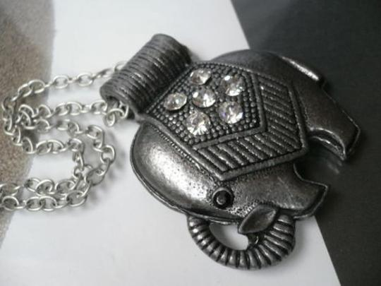 Other Women Chic Pewter Metal Big Fat Elephant Necklace Rhinestones 13