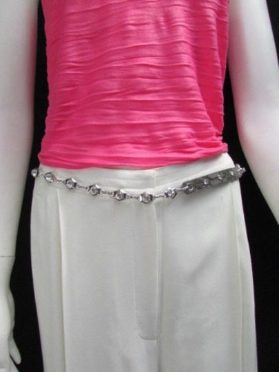 Other Women Fashion Belt Hip Waist Silver Metal Chains Gray Faux Leather