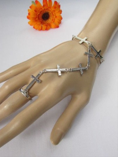 Other Women Silver Metal Fashion Thin Crosses Bracelet Hand Chains Slave Chain