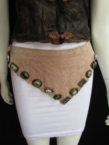Other Women Beige Suede Leather Tie Belt Wide Western Necklace Big Beads 24-28