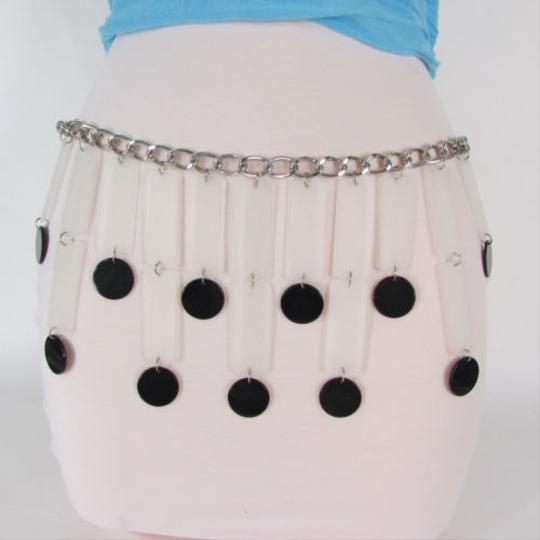 Other Women Silver Chain Black Circles White Fashion Belt Hip Waist 22-36