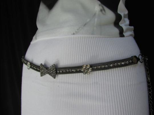 Other Women Pewter Gunmetal Thin Metal Chains Belt Rhinestones Flowers Bow