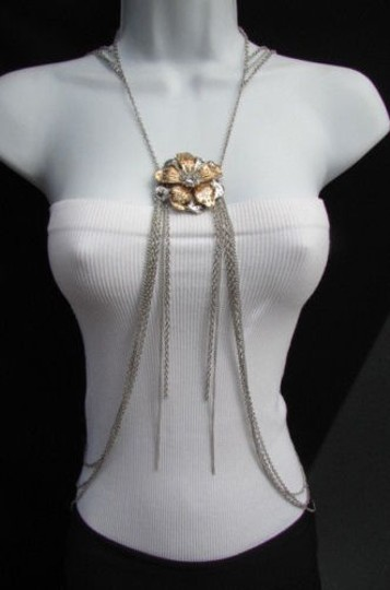 Other Women Thin Silver Body Chain Big Gold Flower Pendant Trendy Fashion Jewelry