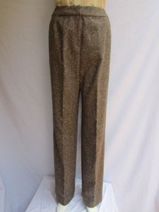 Oscar de la Renta Women Brown Beige Wool Fashion Dressy Winter Trousers Pants
