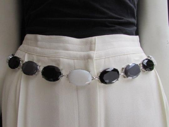 Other Women Belt Hip Waist Silver Metal Chains Gray Black White Beads 25-40 Xs-l
