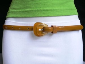 Other Women Belt Mocha Brown Thin Faux Leather Narrow Mustard Buckle 28-37