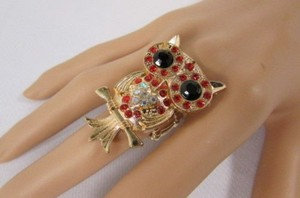 Other Women Ring Fashion Gold Metal Big Owl Elastic Band Red Pink Blue Rhinestones
