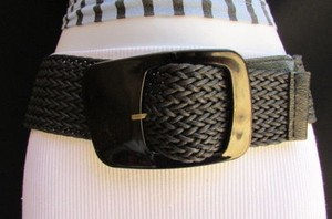 Other Women Hip Waist Big Square Buckle Black Braided Fashion Belt 26-34