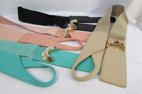 Other Women Belt Fashion Black Beige Pastel Pink Teal Elastic Hook 26-35