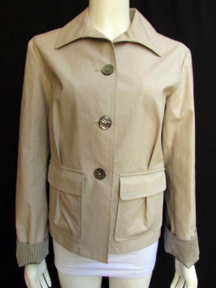 f30f92d53b Giorgio Armani Women Beige Short Cotton Jacket Military Multi Buttons 4410