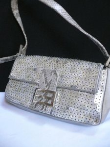 Other Used Unique Women Silver Sequins Snake Skin Print Evening Fashion Hand Shoulder Bag