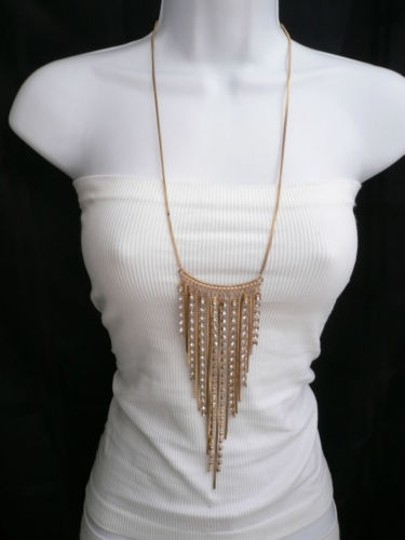 Other Women Necklace Fashion Shiny Gold Long Fringe Metal Chains Clear Rhinestones