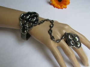 Other Women Bracelet Ring Pewter Metal Hand Chains Slave Big Beads Rhinestones