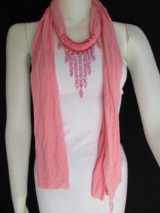 Women L. Pink Fashion Soft Scarf Long Necklace Triangle Big Rhinestones Pendant